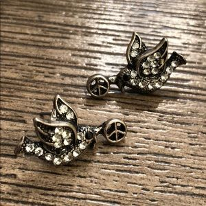 Rhinestone Doves with Peace Signs Stud Earrings